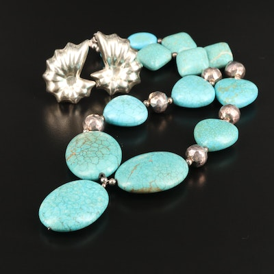 Mexican Sterling Magnesite Necklace and Earrings