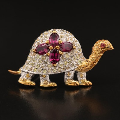 Sterling Silver Sapphire and Garnet  Turtle Brooch