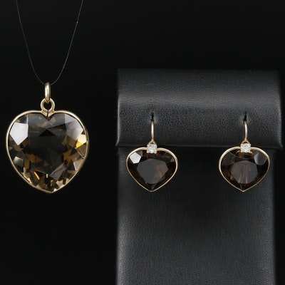 14K 45.00 CT Smoky Quartz and Cubic Zirconia Heart Pendant and Earrings