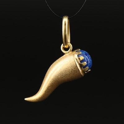 18K Italian Cornicello Pendant with Blue Glass Accent