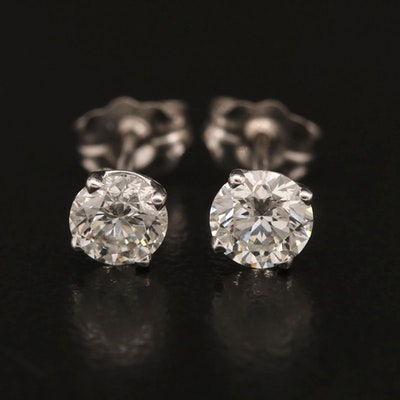 14K 0.73 CTW Diamond Stud Earrings with GIA Report