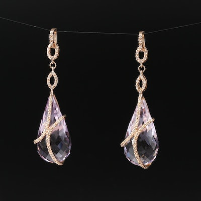 14K Amethyst and Diamond Teardrop Enhancer Pendants