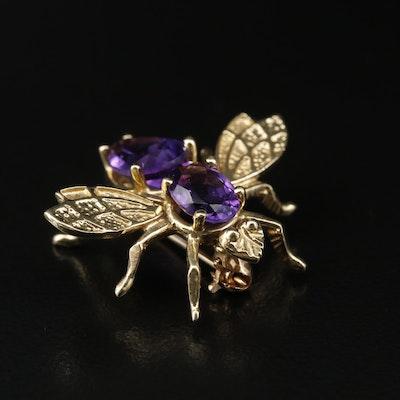 14K Amethyst Bee Ring