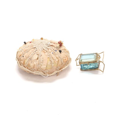 French Standing Pocket Watch Casket with Hand-Crocheted Pin Cushion, Late 19th C
