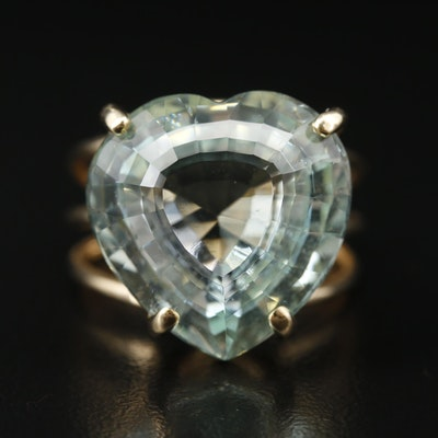 14K 19.78 CT Heart Faceted Beryl Ring