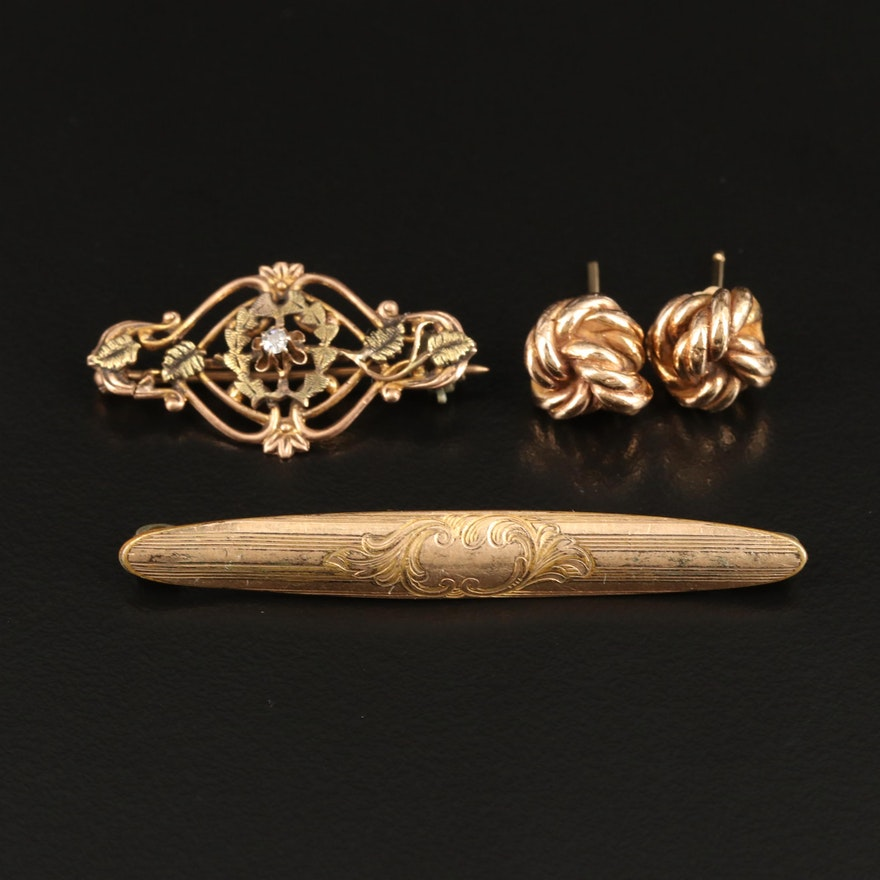 10K Diamond Brooch, Engraved Brooch and Knot Stud Earrings