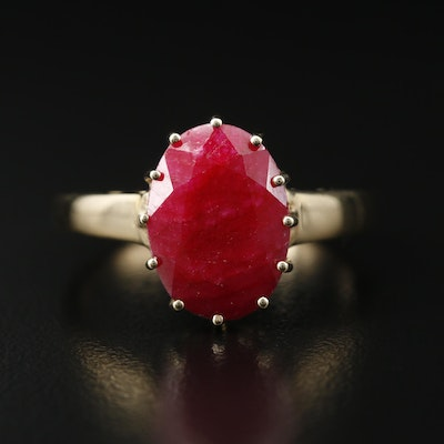 Sterling Corundum Solitaire Ring