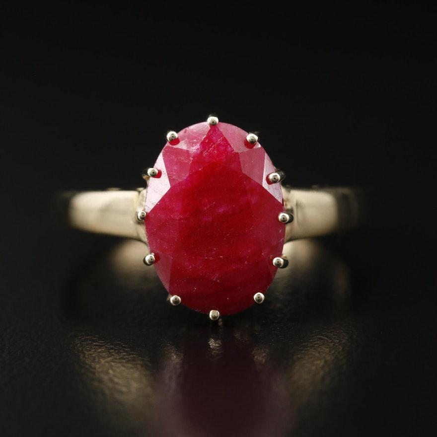Sterling Corundum Solitaire Ring