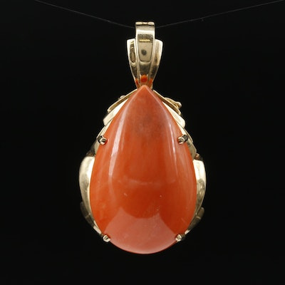 14K Coral Enhancer Pendant