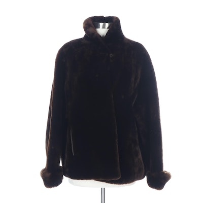 Dyed Brown Mouton Fur Jacket with Turned Back Cuffs from Max Azen Furs