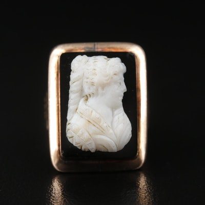Victorian 9K Rose Gold Carved Onyx Cameo Ring
