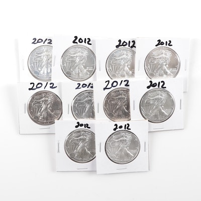 Ten 2012 American Silver Eagle Bullion Coins