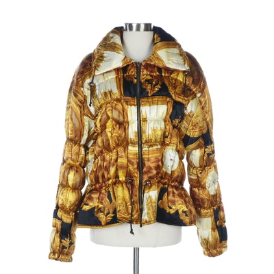 Alimia Neoclassical Style Clocks and Cityscape Print Puffer Jacket