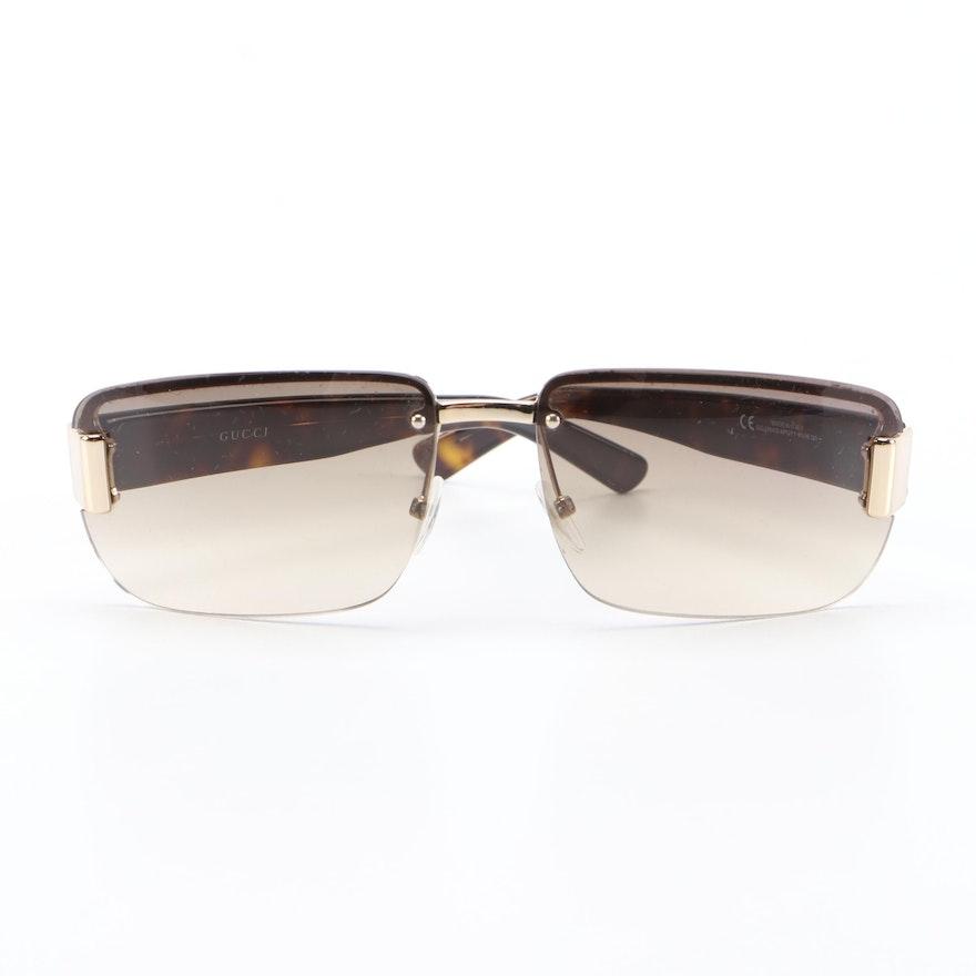 Gucci GG Rimless 2851-S Sunglasses in Web Stripe/Tortoise with Case