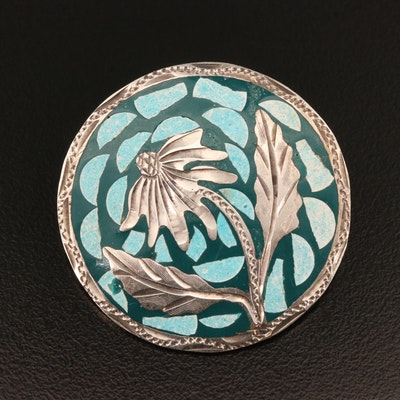Sterling Silver Mosaic Thistle Converter Brooch with Imitation Turquoise