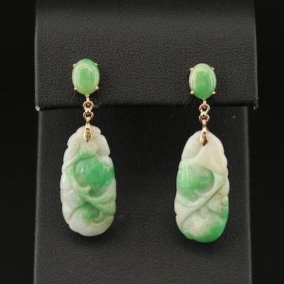 14K Carved Jadeite Drop Earrings