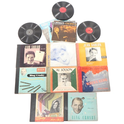 Liberace, Bing Crosby, Jean Sablon and More 45 RPM Vinyl Records