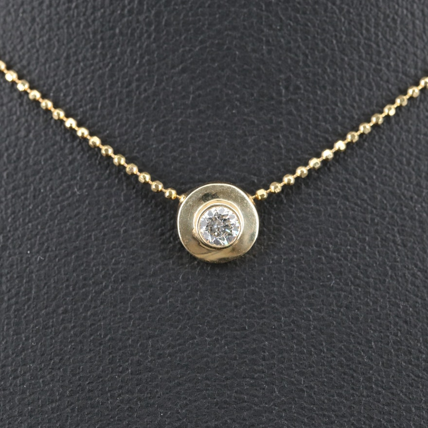 14K Bezel Set 0.14 CT Diamond Pendant Necklace