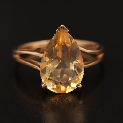 10K Citrine Teardrop Ring