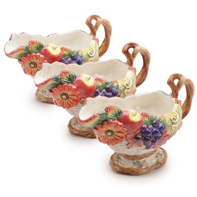 "Fitz and Floyd ""Autumn Bounty"" Ceramic Gravy Boats, 1996–1999"