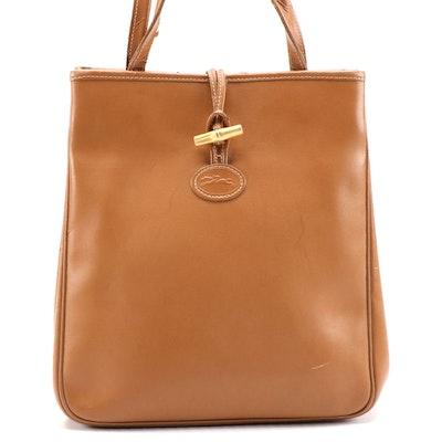 Longchamp Light Brown Leather Bucket Bag