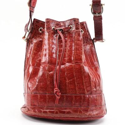 Red Caiman Skin Drawstring Bucket Bag
