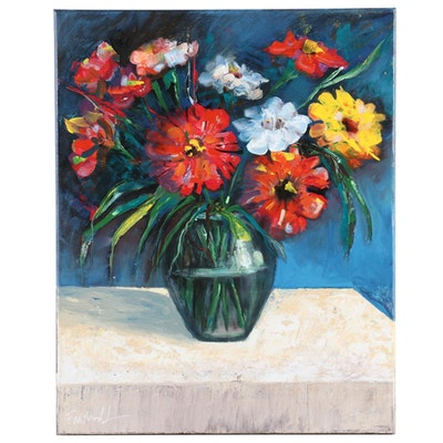Farshad Lanjani Still Life Acrylic Painting of Flowers in Glass Vase
