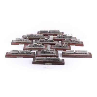 "Danbury Mint ""Twelve Great American Steam Locomotives"" Model Pewter Trains"