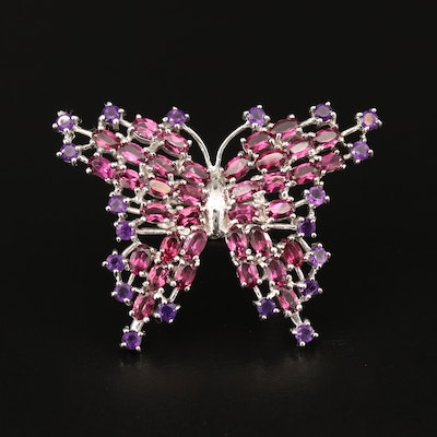 Sterling Butterfly Ring with Amethyst and Garnet