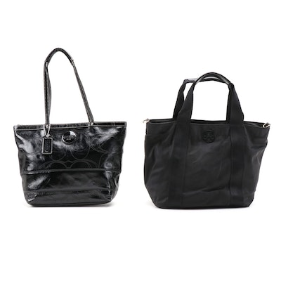 Tory Burch and Coach Black Shoulder Tote Bags