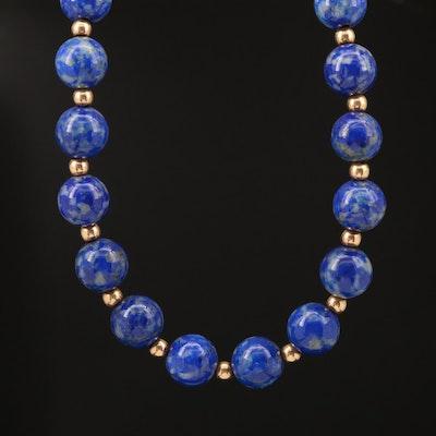 14K Lapis Lazuli Bead Necklace