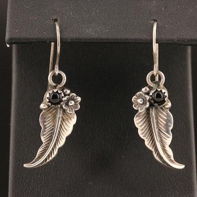 Western Style Black Onyx Feather Dangle Earrings