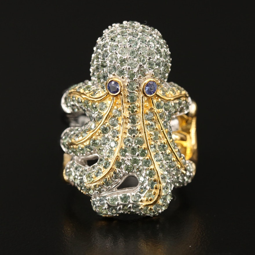 Sterling Silver Tanzanite and Sapphire Octopus Ring
