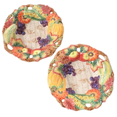 "Fitz and Floyd ""Autumn Bounty"" Ceramic Serving Bowls, 1996–1999"