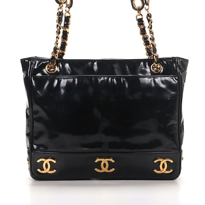 Chanel CC Shoulder Bag in Black Patent Leather