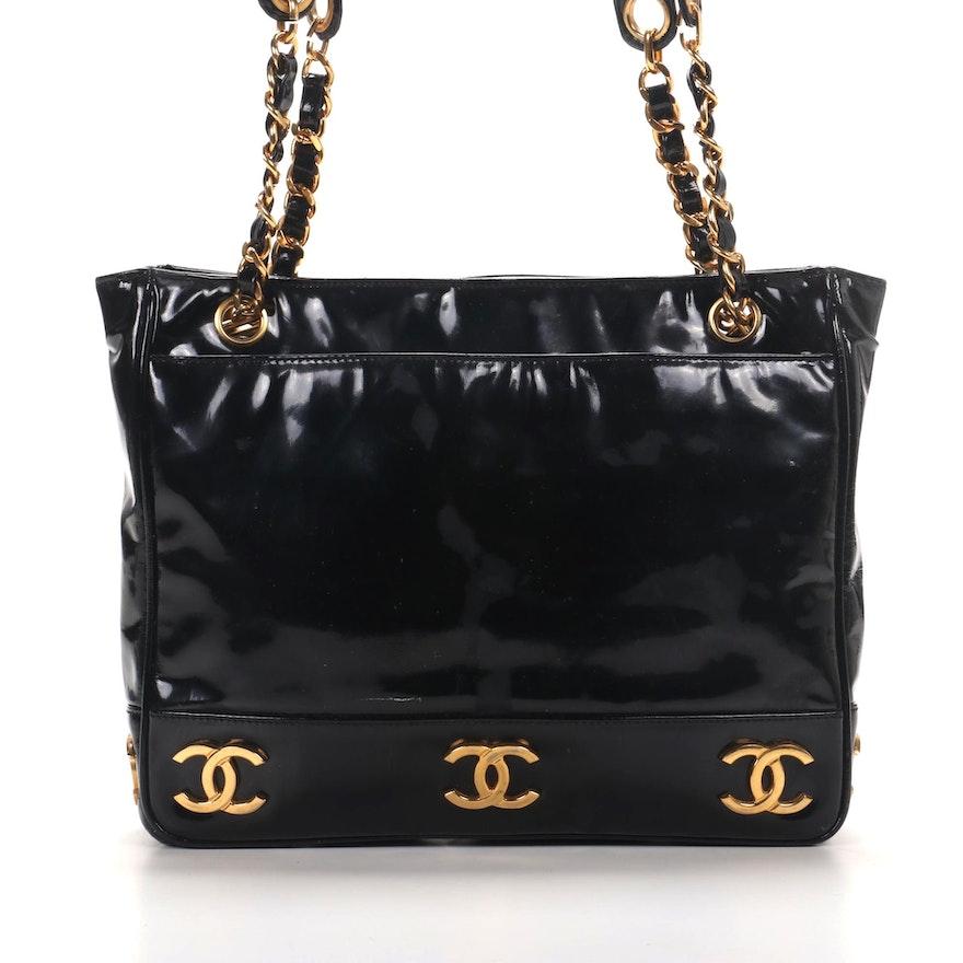 Chanel CC Shoulder Bag in Black Patent Leather