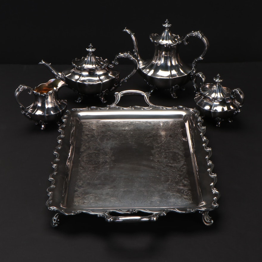 "Reed & Barton ""Victorian"" Silver Plate Tea and Coffee Service with Webster Tray"