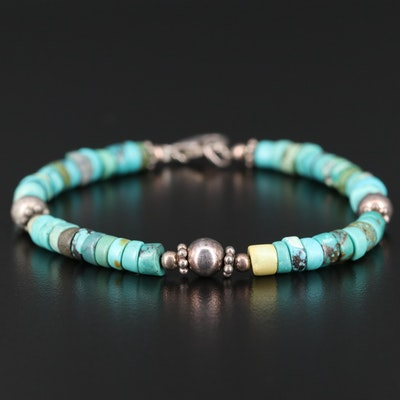 Turquoise Beaded Bracelet with Sterling Accents and Closure