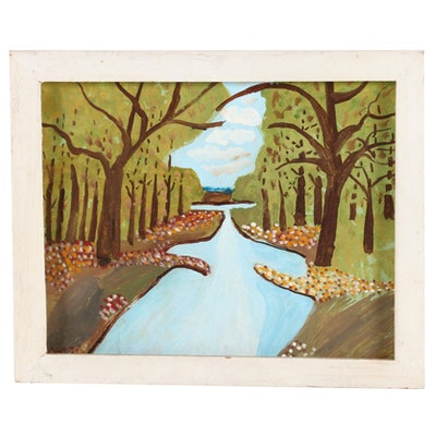 "William West Folk Art Oil Painting ""Valley of Flowers,"" Late 20th Century"