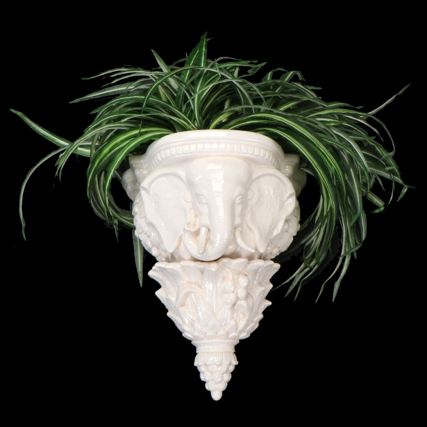Fitz and Floyd Ceramic Elephant Wall Pocket with Artificial Spider Plant