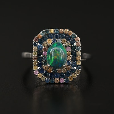 Sterling Silver Opal and Sapphire Pavé Ring