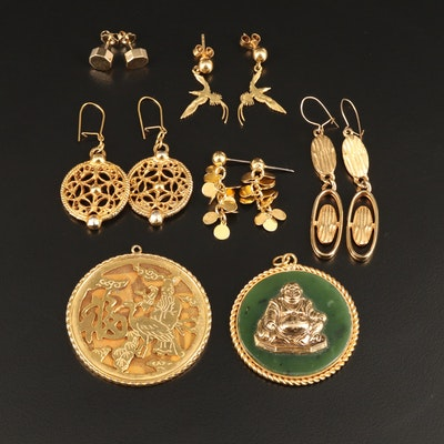 Asian Inspired Jewelry Featuring Nephrite Buddha Pendant and 14K Clutches