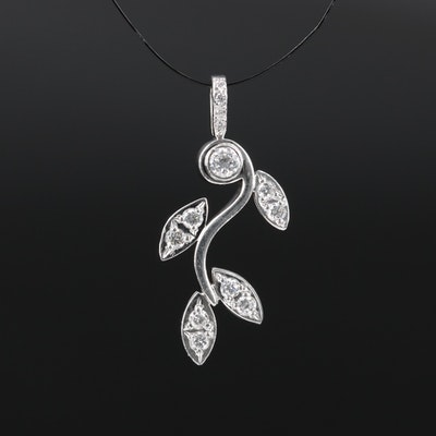Platinum Diamond Foliate Pendant