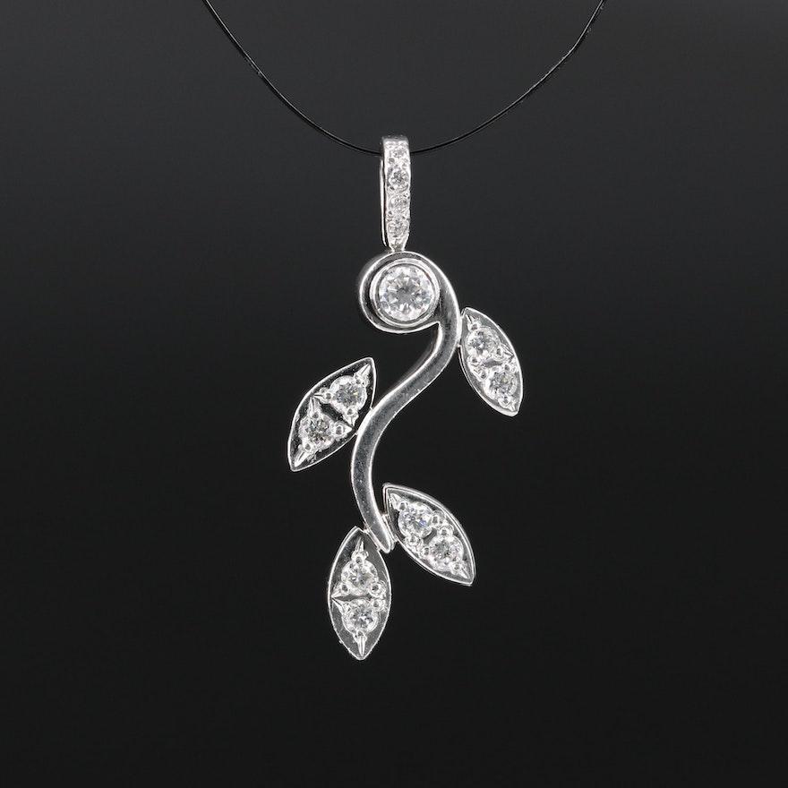 Platinum Diamond Foliate Pendant
