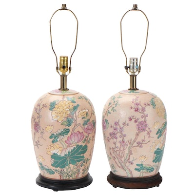 Pair of Chinese Floral Porcelain Melon Jar Table Lamps, Late 20th Century