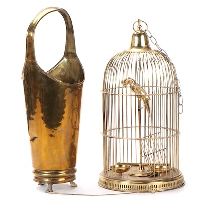 Spanish Hammered Brass Umbrella Stand with Bird Cage