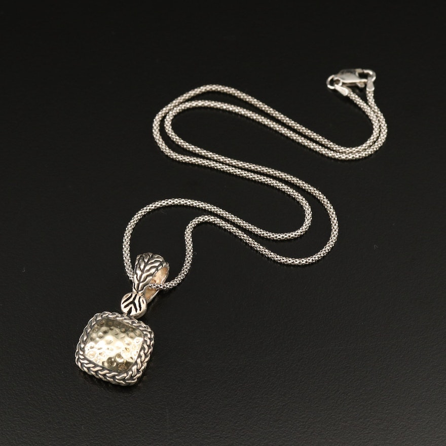 Sterling Silver Hammered Finish Pendant on Wheat Chain