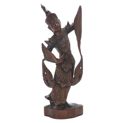 Thai Angel Carved Wood Figurine