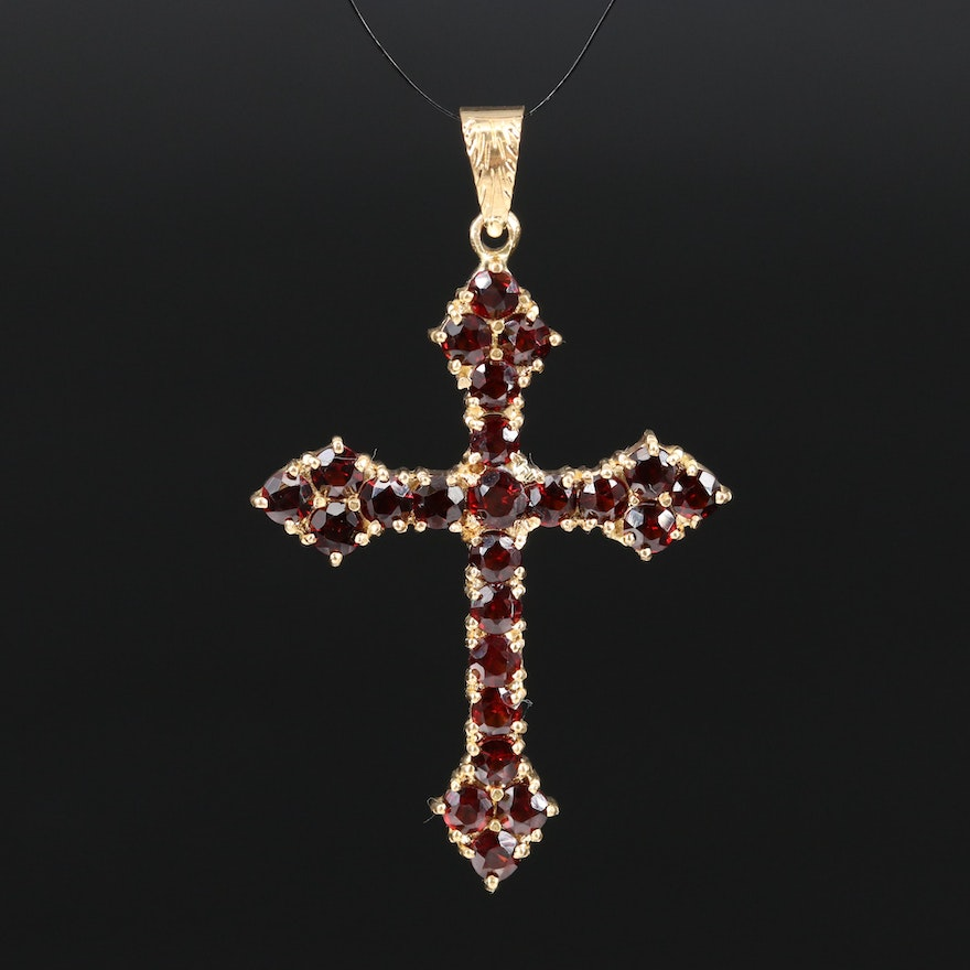 18K Garnet Cross Pendant