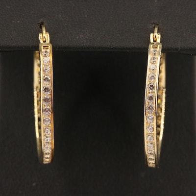 Sterling Silver Cubic Zirconia Hoop Earrings